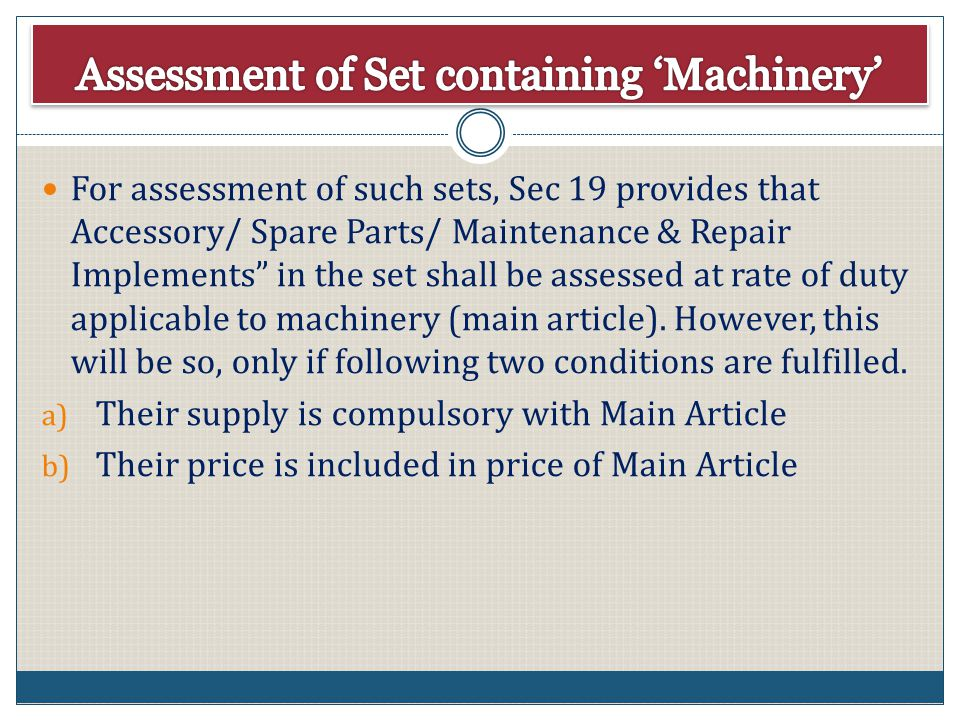 Assessment of Set containing 'Machinery'