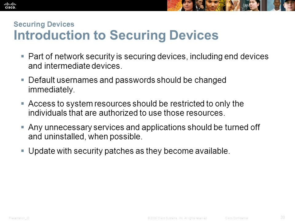 Securing Devices Introduction to Securing Devices