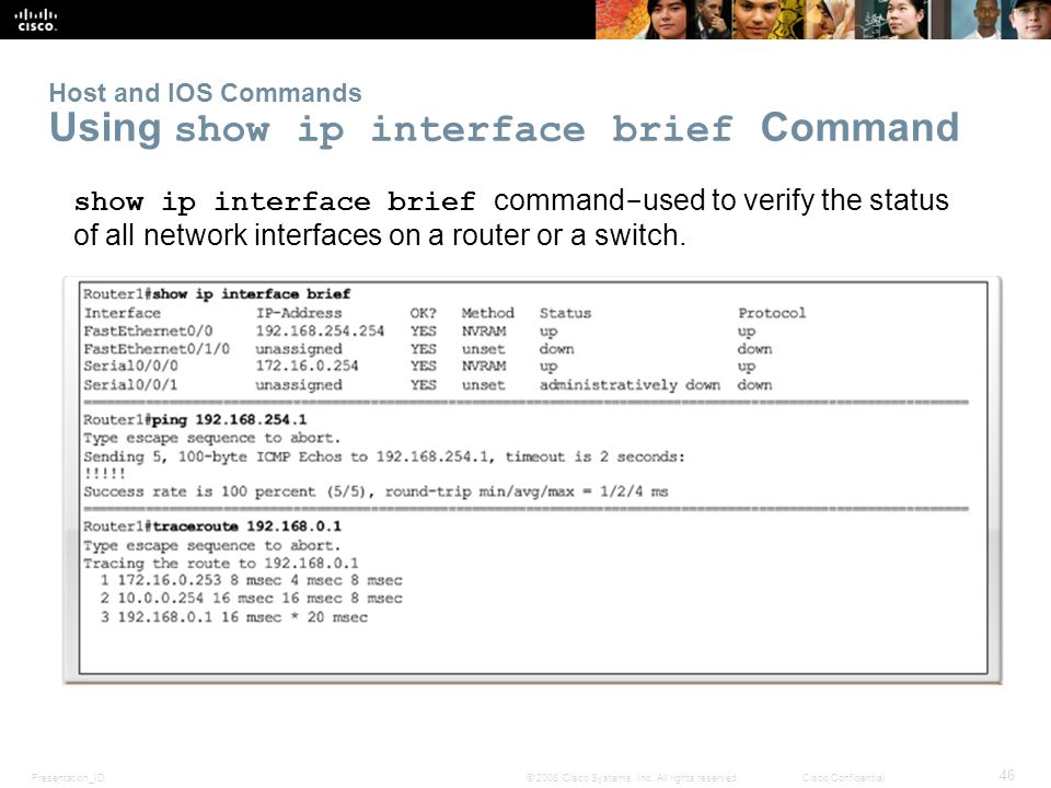 Host and IOS Commands Using show ip interface brief Command