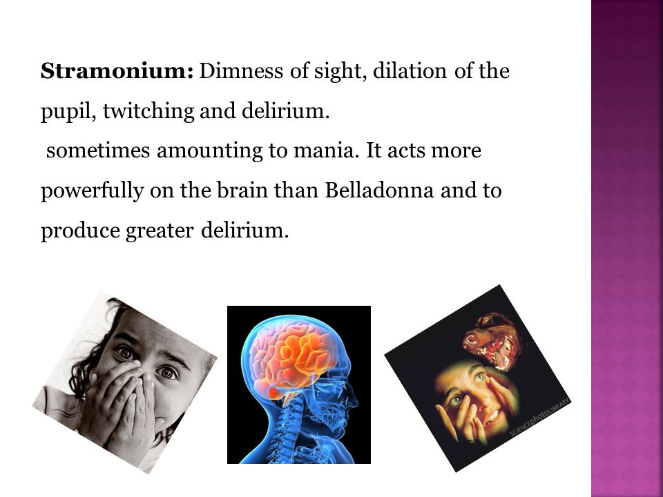 Stramonium: Dimness of sight, dilation of the pupil, twitching and delirium.