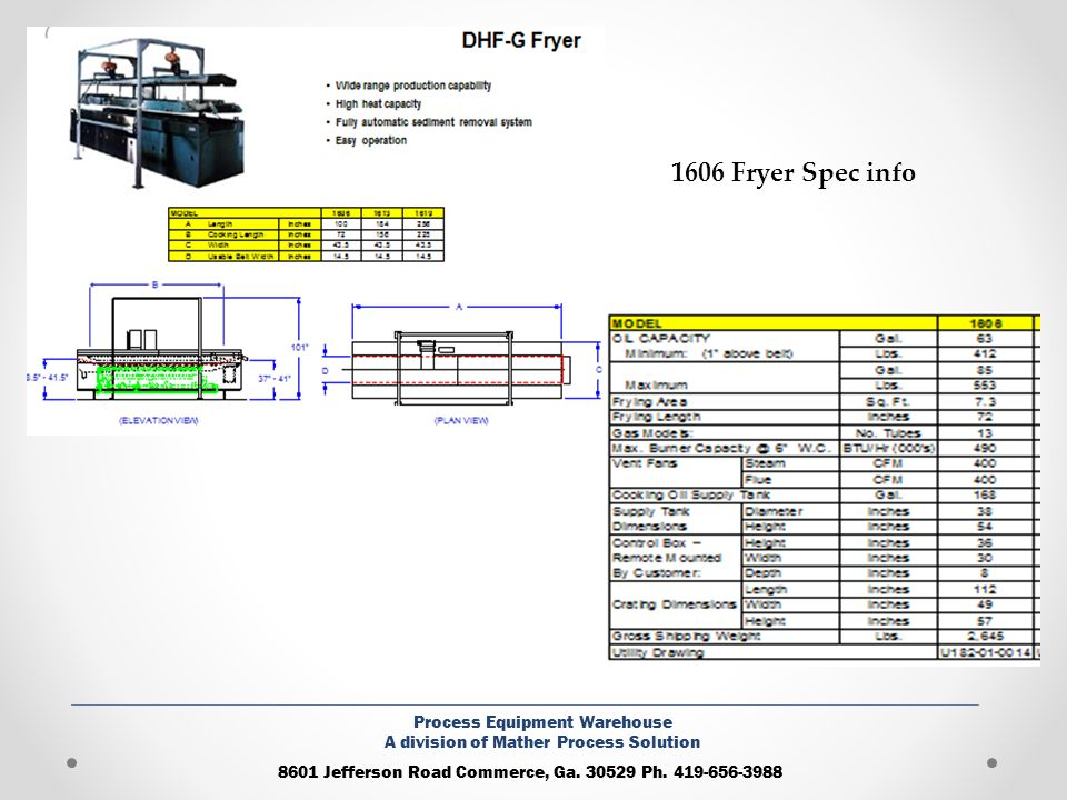 1606 Fryer Spec info Process Equipment Warehouse