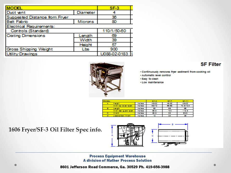 1606 Fryer/SF-3 Oil Filter Spec info.