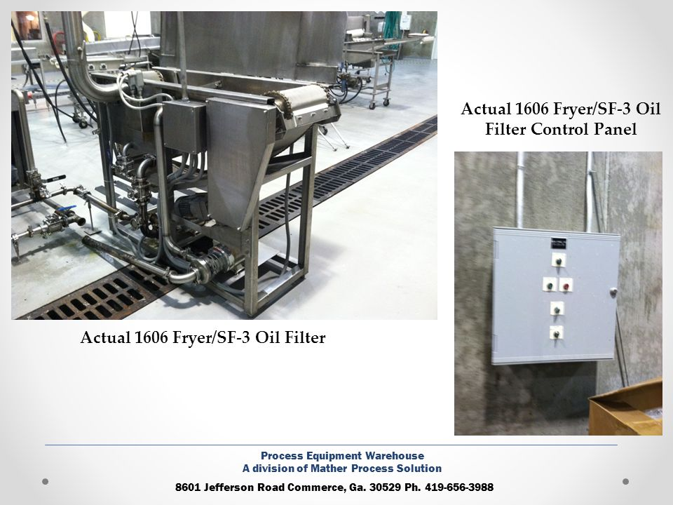 Actual 1606 Fryer/SF-3 Oil Filter Control Panel