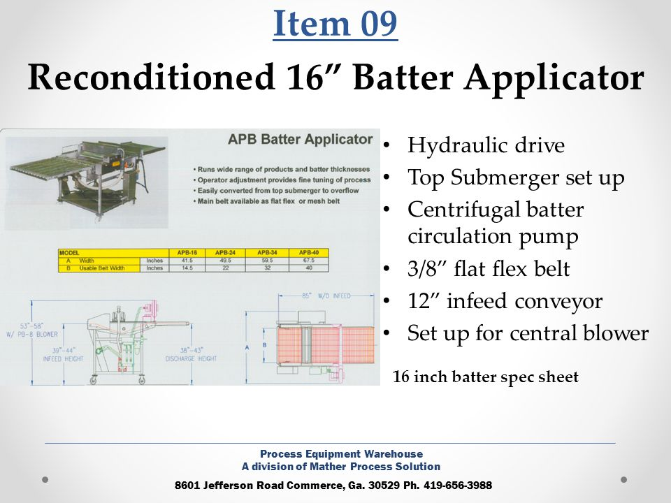 Item 09 Reconditioned 16 Batter Applicator