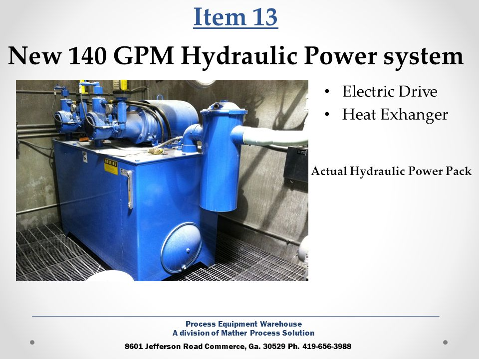 Item 13 New 140 GPM Hydraulic Power system