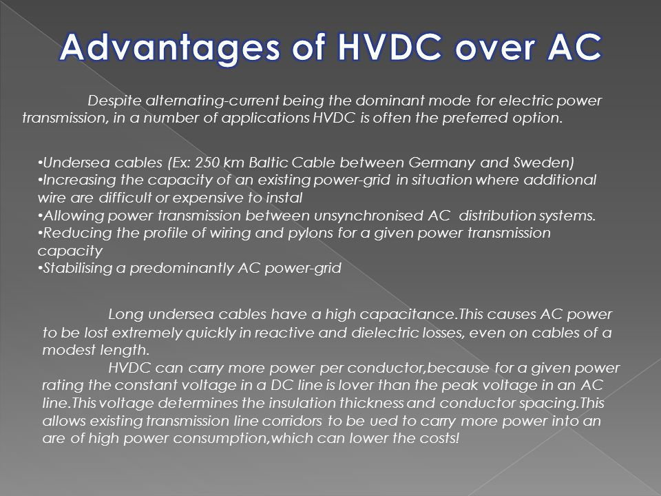 Advantages of HVDC over AC