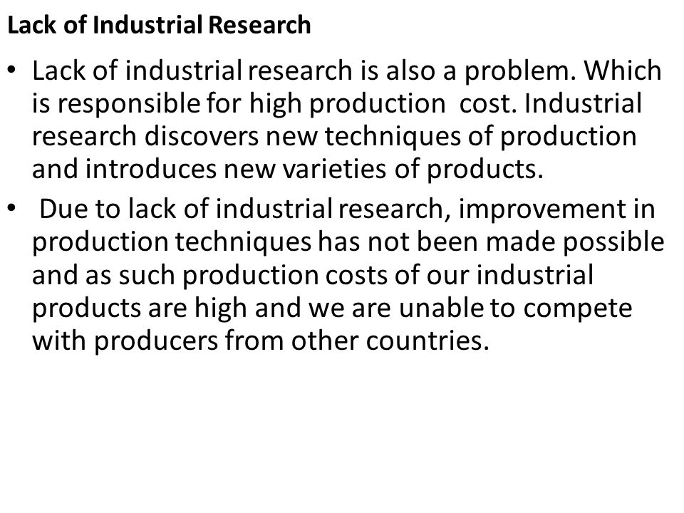 Lack of Industrial Research
