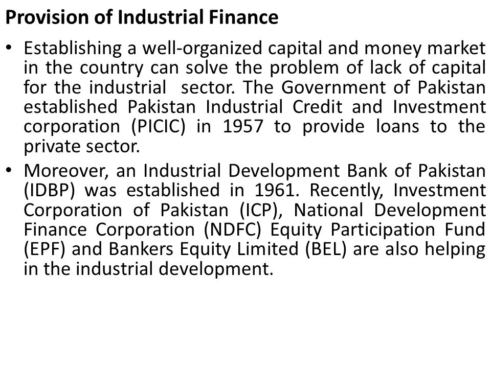 Provision of Industrial Finance