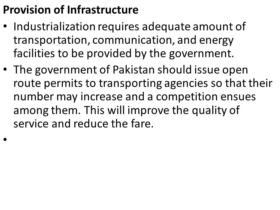 Provision of Infrastructure