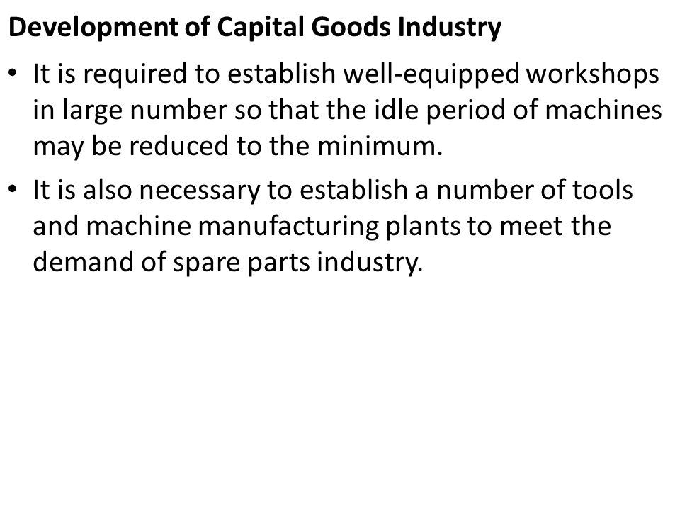 Development of Capital Goods Industry