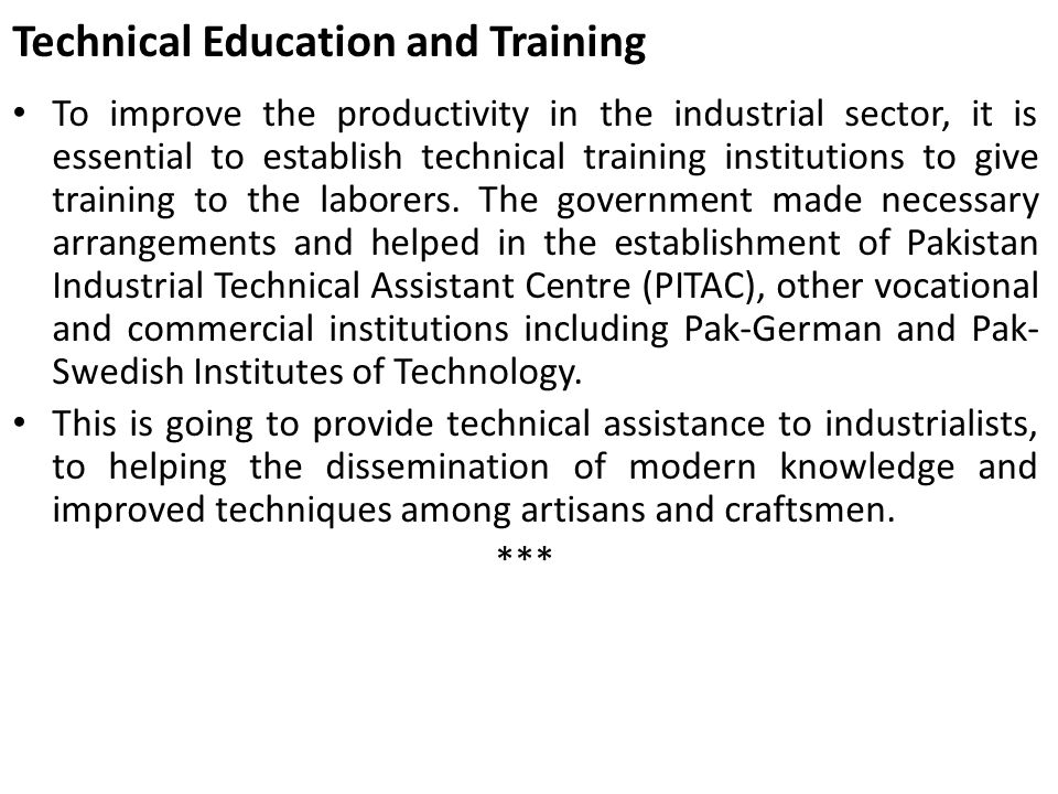 Technical Education and Training