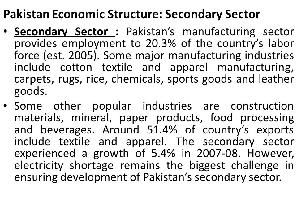 Pakistan Economic Structure: Secondary Sector