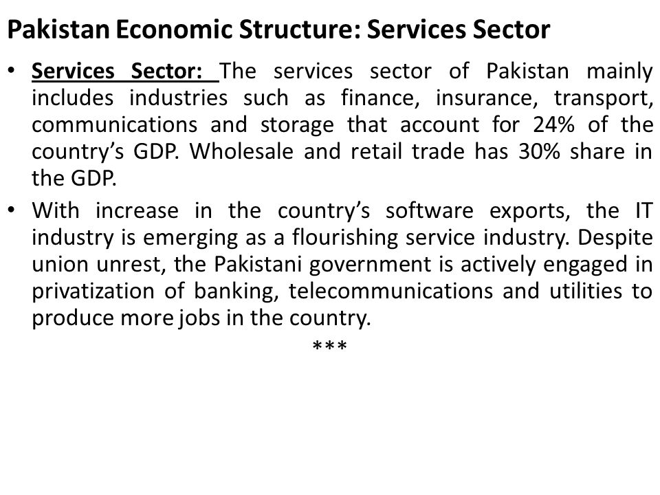 Pakistan Economic Structure: Services Sector