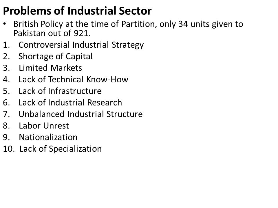 Problems of Industrial Sector
