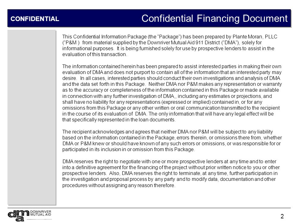 Confidential Financing Document