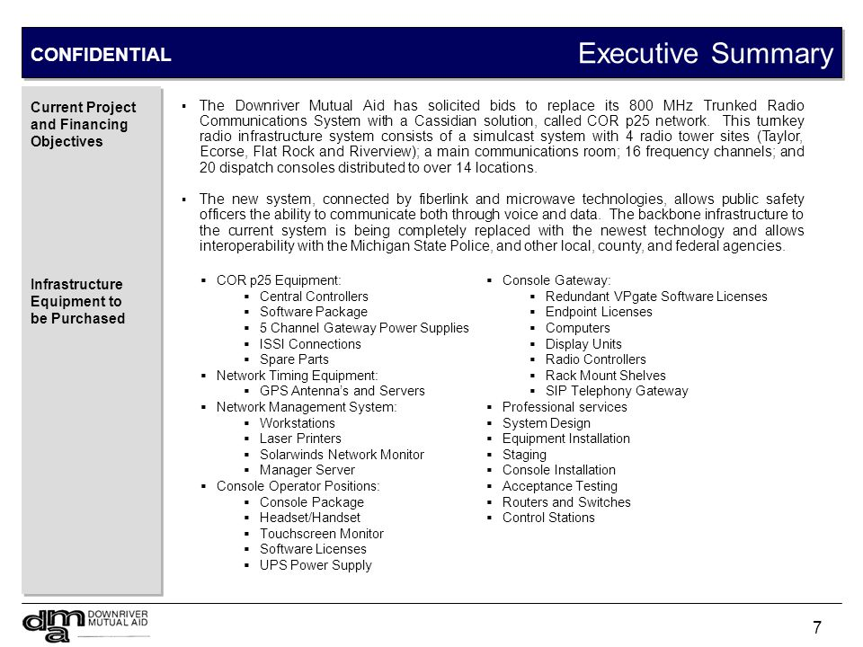 Executive Summary CONFIDENTIAL Radios to be Purchased