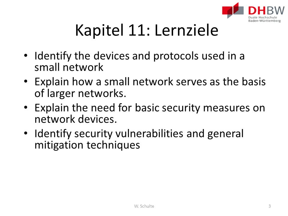 Kapitel 11: Lernziele Identify the devices and protocols used in a small network.