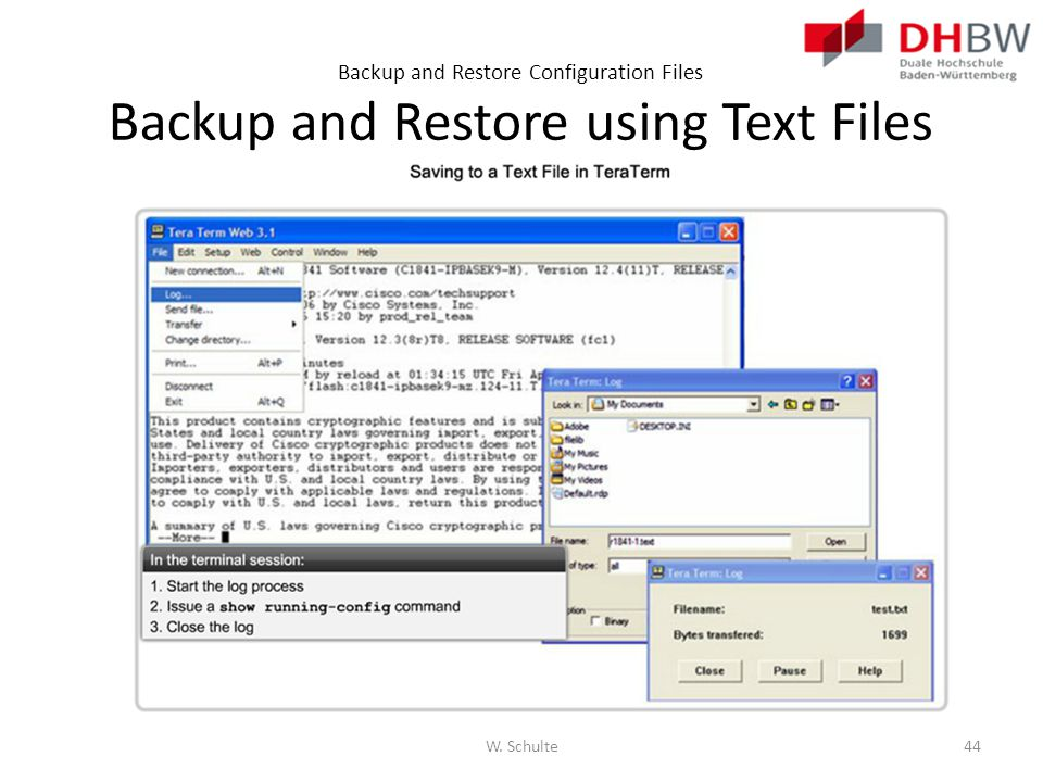 Backup and Restore Configuration Files Backup and Restore using Text Files