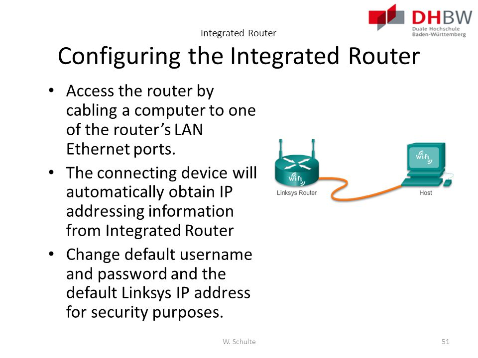 Integrated Router Configuring the Integrated Router