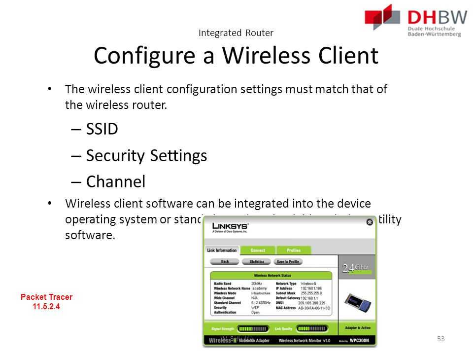 Integrated Router Configure a Wireless Client