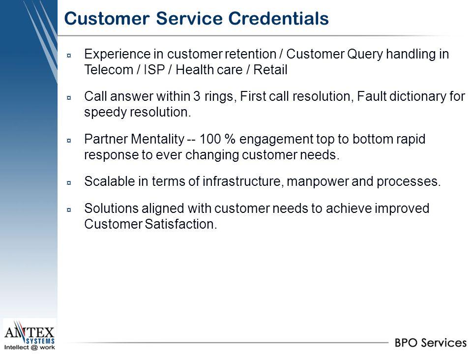 Customer Service Credentials
