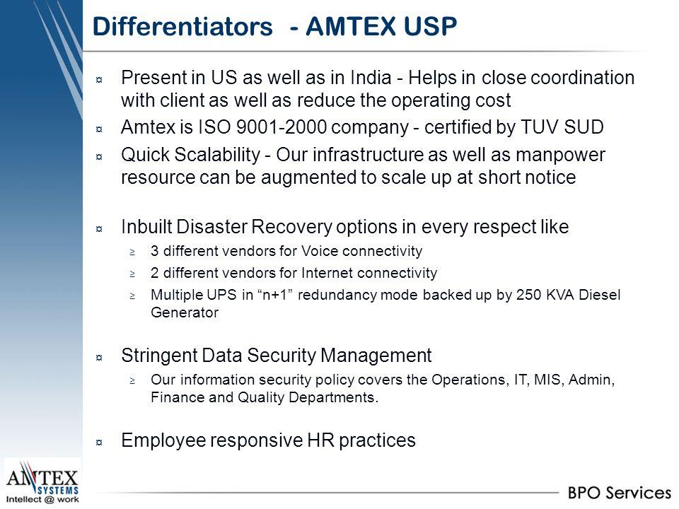 Differentiators - AMTEX USP