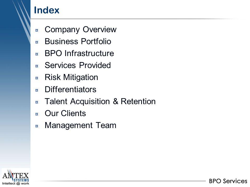 Index Company Overview Business Portfolio BPO Infrastructure