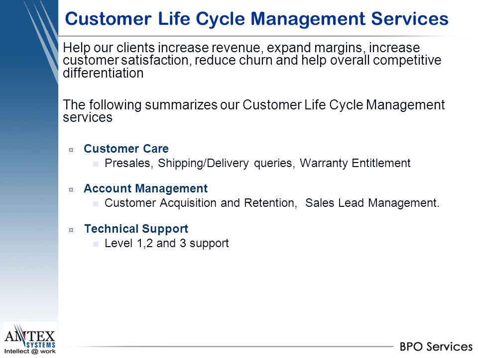 Customer Life Cycle Management Services