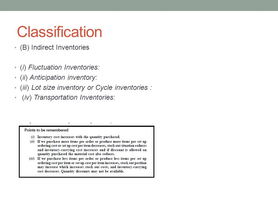 Classification (B) Indirect Inventories (i) Fluctuation Inventories: