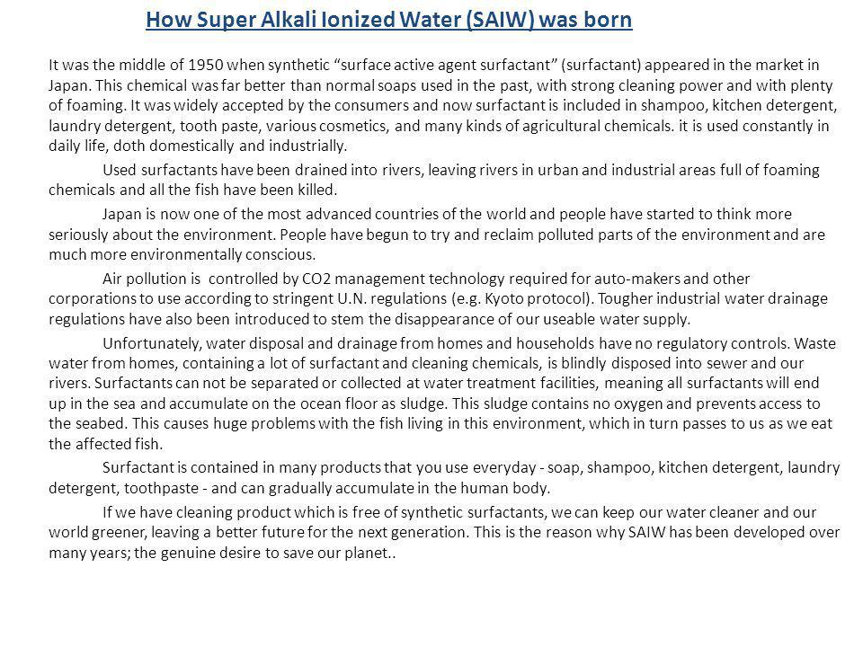 How Super Alkali Ionized Water (SAIW) was born