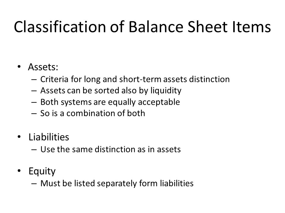Classification of Balance Sheet Items