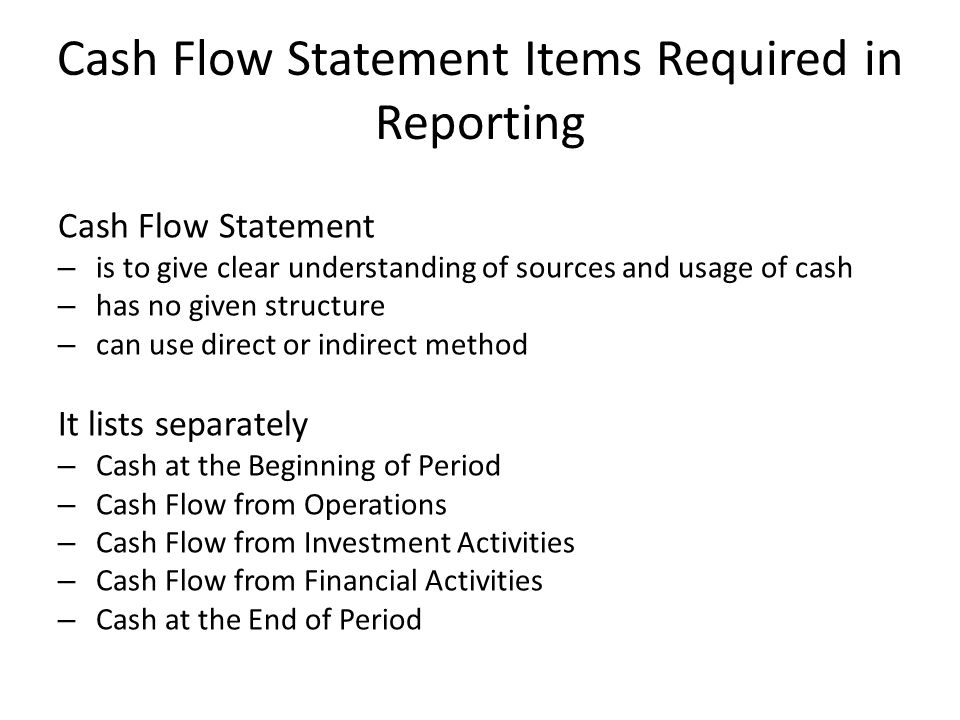 Cash Flow Statement Items Required in Reporting
