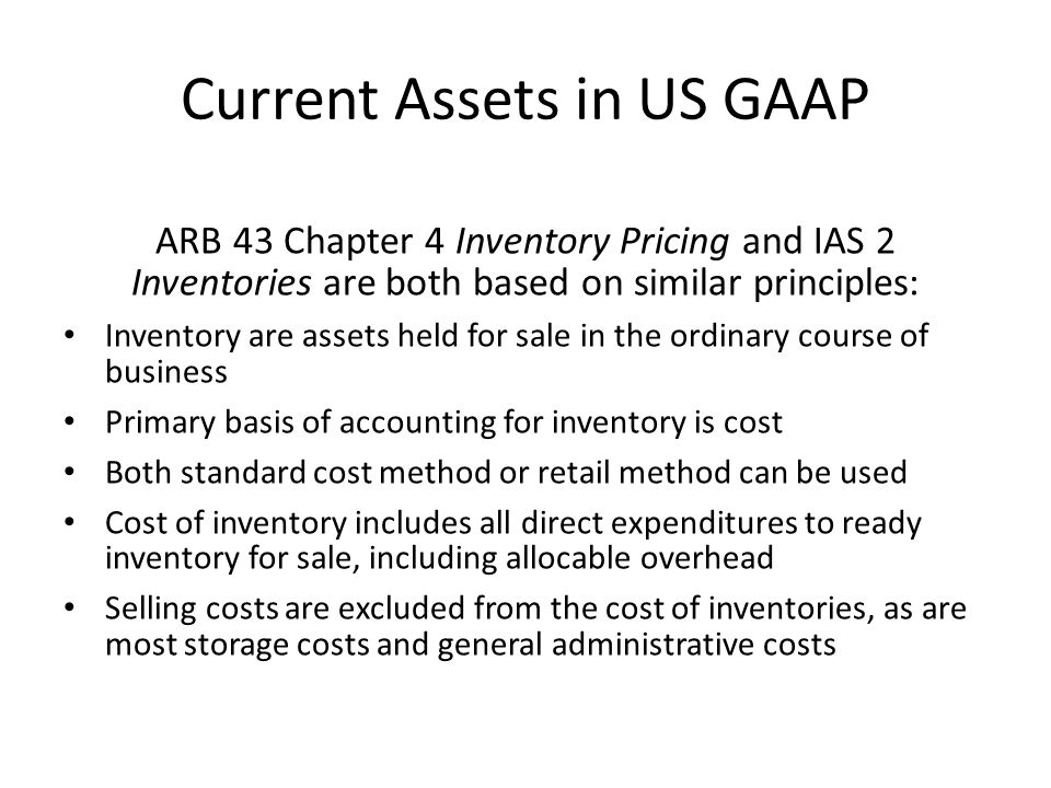 Current Assets in US GAAP