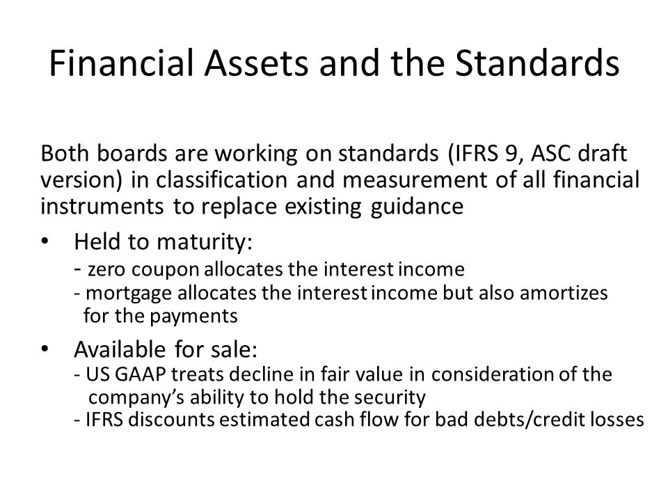 Financial Assets and the Standards