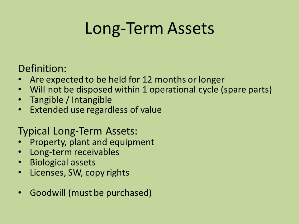 Long-Term Assets Definition: Typical Long-Term Assets: