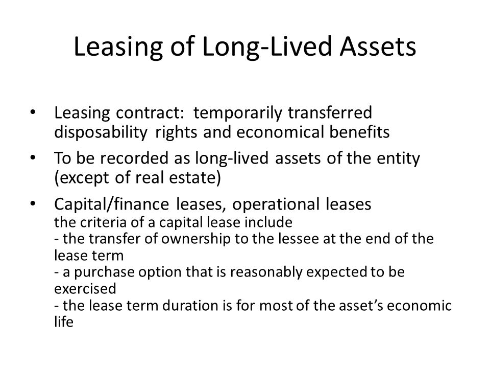 Leasing of Long-Lived Assets