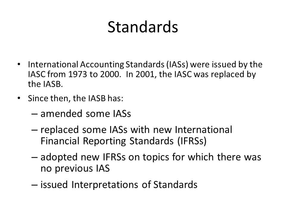 Standards amended some IASs