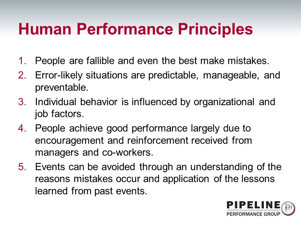 Human Performance Principles