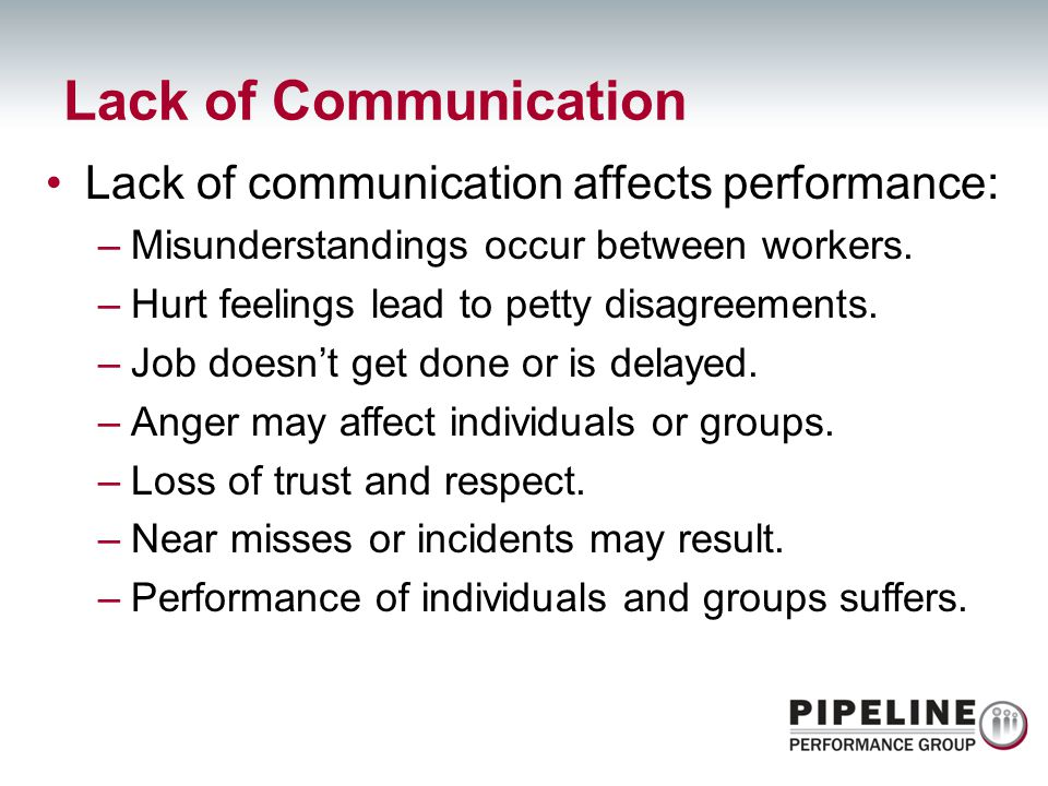 Lack of Communication Lack of communication affects performance: