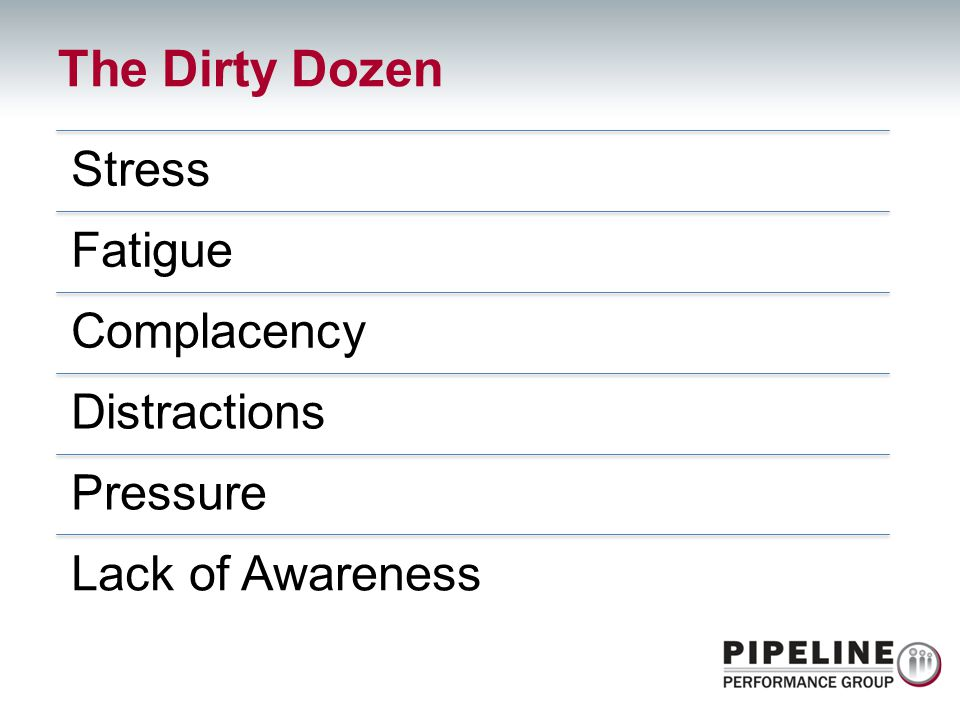 The Dirty Dozen Stress Fatigue Complacency Distractions Pressure