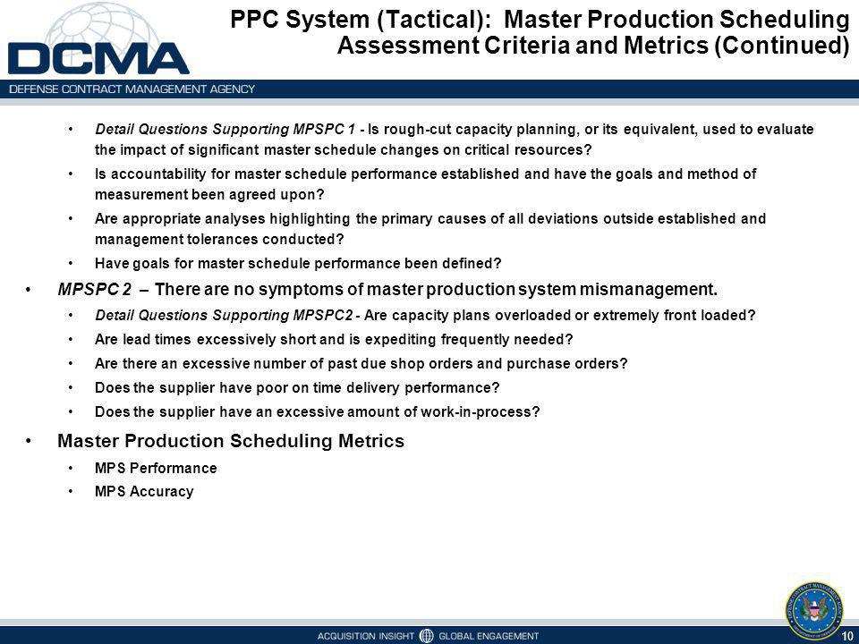 PPC System (Tactical): Master Production Scheduling Assessment Criteria and Metrics (Continued)