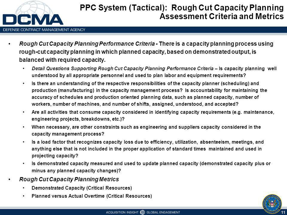 PPC System (Tactical): Rough Cut Capacity Planning Assessment Criteria and Metrics