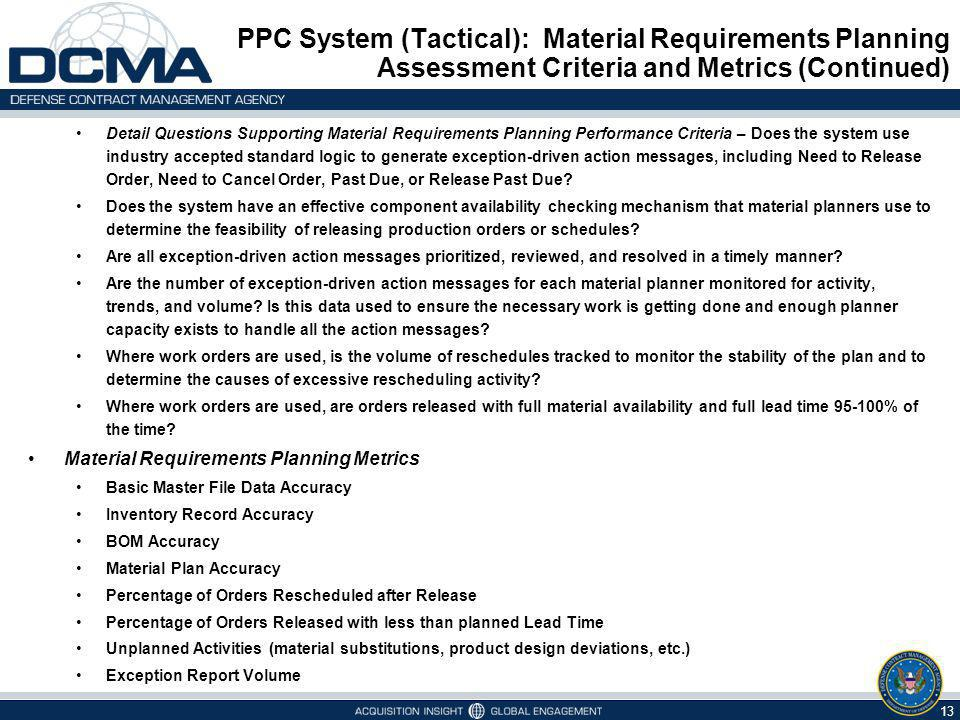 PPC System (Tactical): Material Requirements Planning Assessment Criteria and Metrics (Continued)