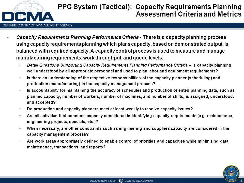 PPC System (Tactical): Capacity Requirements Planning Assessment Criteria and Metrics