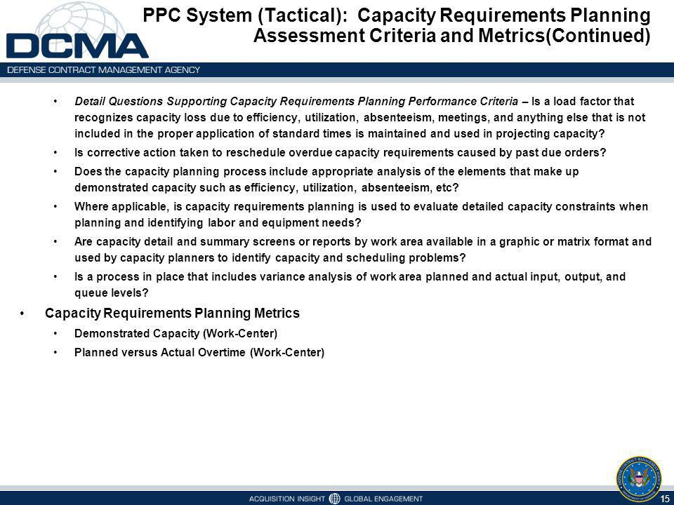 PPC System (Tactical): Capacity Requirements Planning Assessment Criteria and Metrics(Continued)