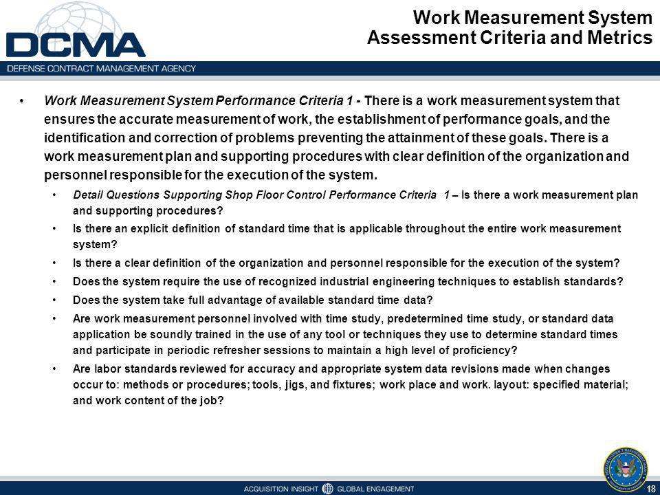 Work Measurement System Assessment Criteria and Metrics