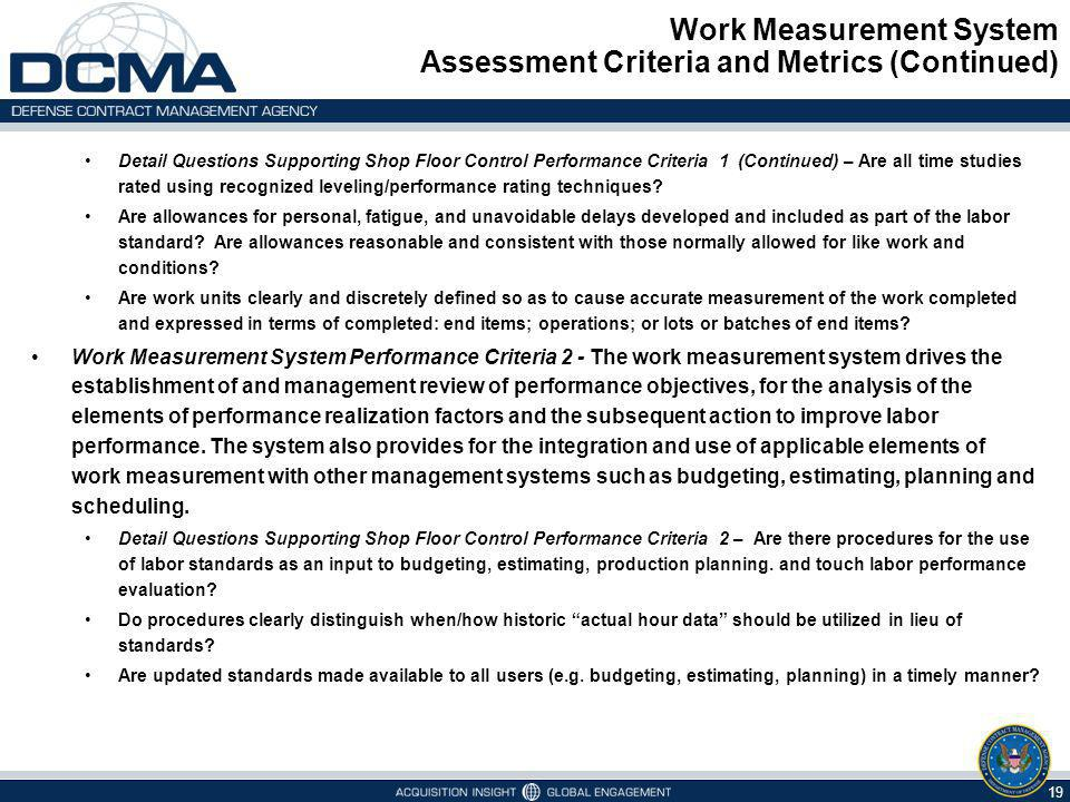 Work Measurement System Assessment Criteria and Metrics (Continued)