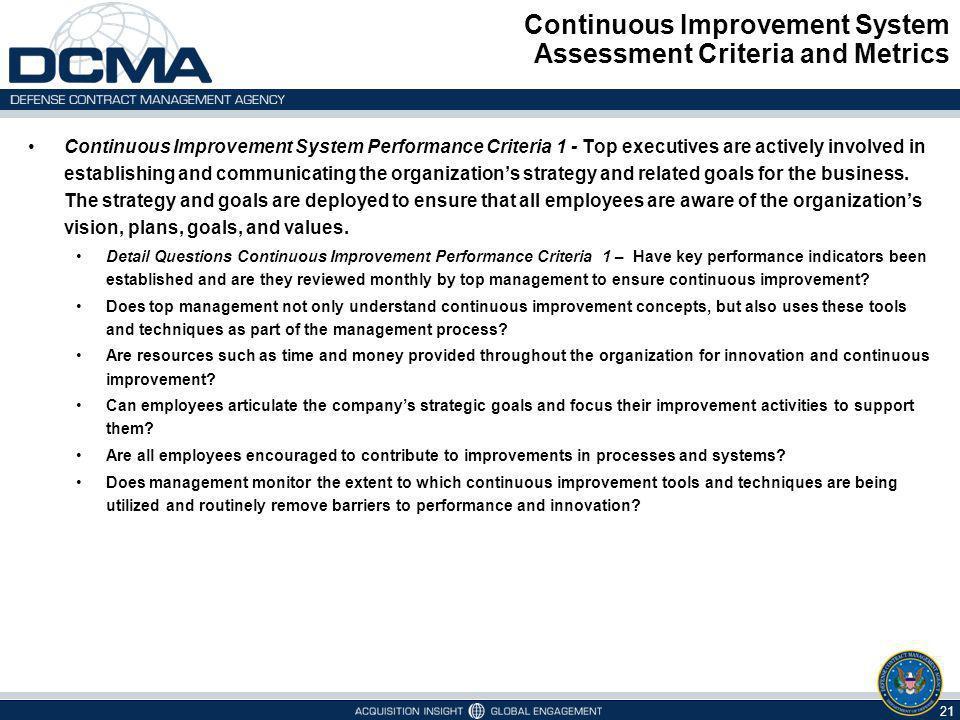 Continuous Improvement System Assessment Criteria and Metrics