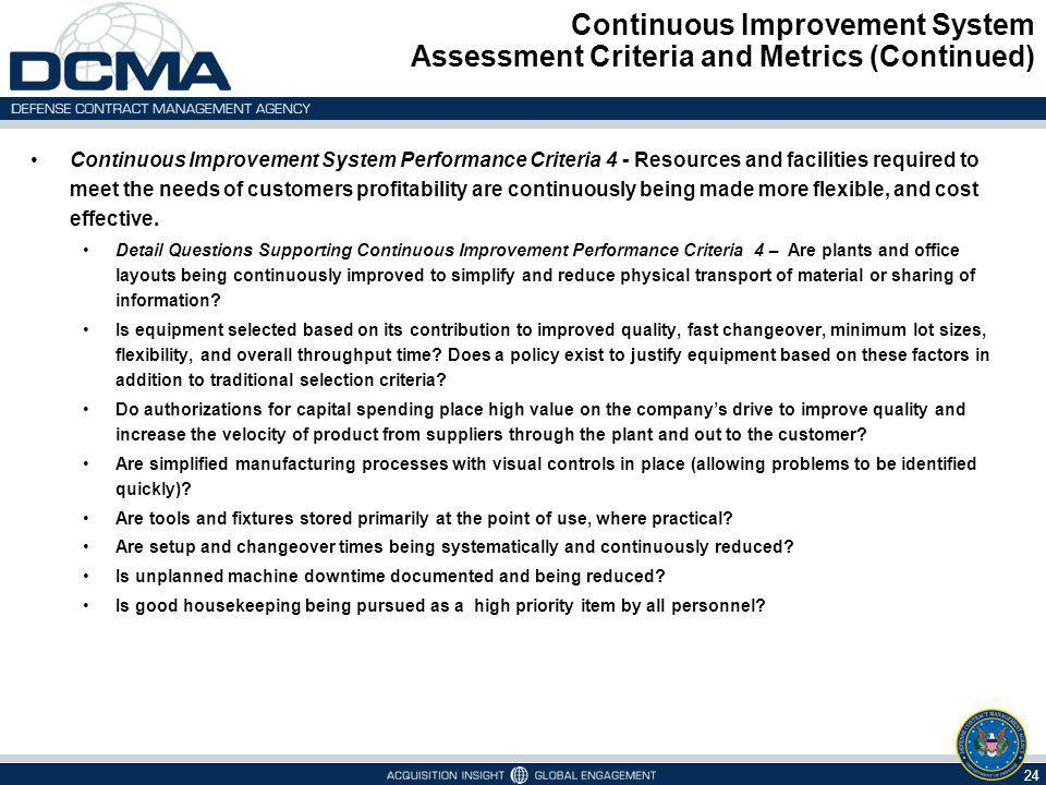 Continuous Improvement System Assessment Criteria and Metrics (Continued)