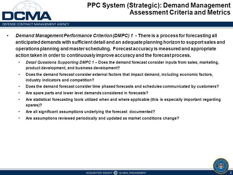 PPC System (Strategic): Demand Management Assessment Criteria and Metrics